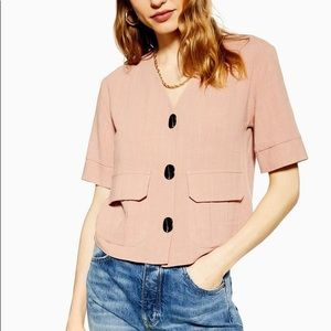 Topshop Rose Pink Button Down Top